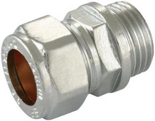"22mm x 3/4"" compression chrome straight adaptor male fitting (Bag of 10=£31.50)"